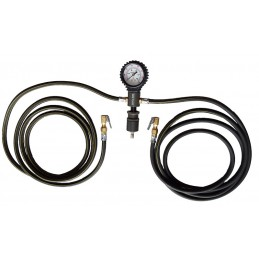 Indeflate tyre hose with gauge
