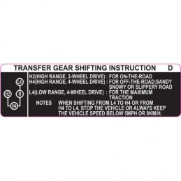 Toyota Transfer Gear Sticker